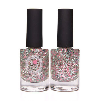 Glass Slipper - Pink, Teal, Silver Glitter Nail Polish