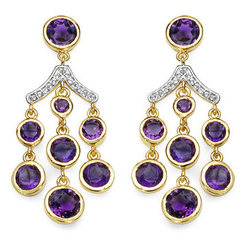 14K Yellow Gold Plated 6.93 Carat Genuine Amethyst & White Topaz .925 Sterling Silver Earrings
