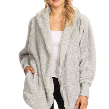 Oversized Fuzzy Fur Jacket - Silver Fox
