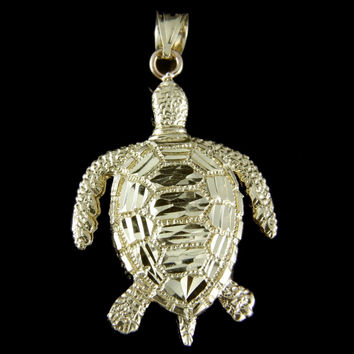 BIG! SOLID 14K SOLID YELLOW GOLD DIAMOND CUT HAWAIIAN SEA TURTLE HONU PENDANT