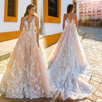 Robe De Mariage 2017 Lace Wedding Dresses V-Neck Sleeveless Illusion Back Lace Apllique Bridal Gowns With Detachable Train
