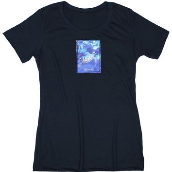 Underwater Paradise: Women's Nature Amour Turtle and Jellyfish T-shirt, Navy