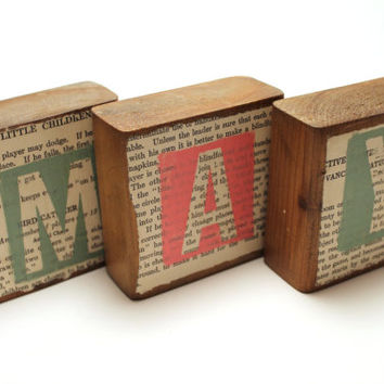 Personalized Letter Wood Blocks with Vintage Children's Book Pages, Name, Phrase, Nursery, Kid's Room, Home Décor set of 3 blocks