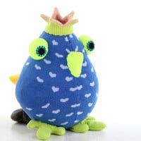 Cheerful Crown birds bird toy  blue  birds Nursery decor Stuffed Baby bird toy baby gift Playful birds with Green  Crown Green mouth