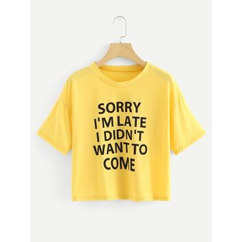 Slogan Print T-shirt Yellow