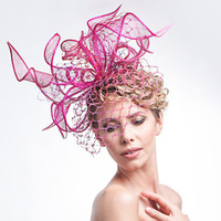 Oversized Fuchsia Straw Shaped Headpiece Birdcage Veiling Fascinator Summer Statement Floral Hat Hair Accessory Flower Wedding Accessories