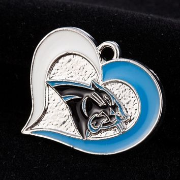 Heart Alloy Carolina Panthers Football Team Charms Dangle Charms For DIY Bracelet & Necklace Jewelry Accessory Hanging Charms