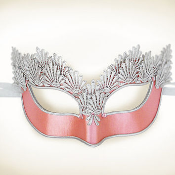 Pink & Silver Lace Masquerade Mask - Venetian Style Halloween Mask With Embroidery - For Masquerade Ball, Prom, Costume Party, Wedding