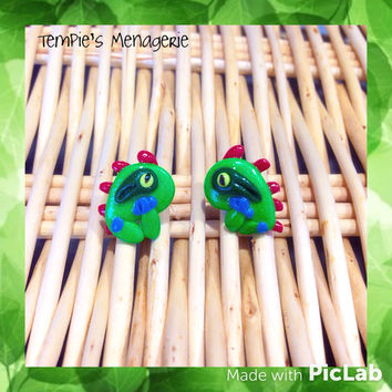 Murky the Murloc handmade polymer clay stud earrings - world of warcraft WoW Heroes of the storm fan art jewelry