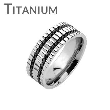 Triple Gears – Triple grooved band with double twisted black wires solid titanium men's ring