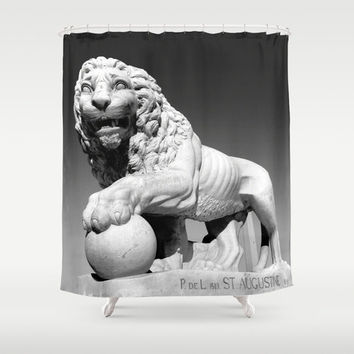 Black and White Lion, Lion Shower Curtain, King of the Jungle, Bathroom Decor, St Augustine, Cat Gray Mane courage Statue Sculpture Aslan