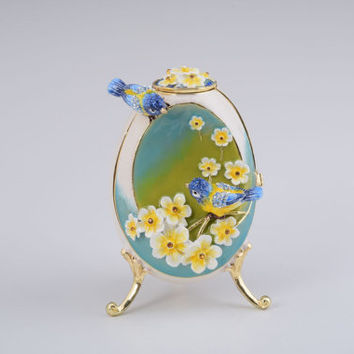 Birds and Flowers White Faberge Egg with a Perl on Top Handmade Trinket Box by Keren Kopal Decorated with Swarovski Crystals