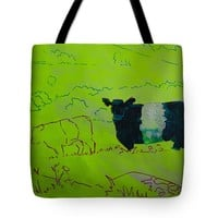 "Belted Galloway Cow on Dartmoor Illustration Tote Bag for Sale by Mike Jory (18"" x 18"")"