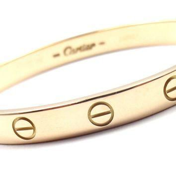 Authentic! CARTIER 18k Yellow Gold Love Bangle Bracelet Size 16 Box Screwdriver