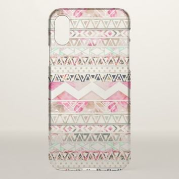 Girly Pink White Floral Abstract Aztec Pattern iPhone X Case