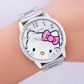 2016 hot sales Fashion Women stainless steel Watch Girls Hello Kitty quartz Watch for Cartoon Watches 1pcs