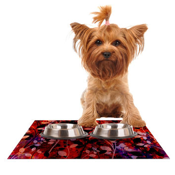 "Ebi Emporium ""Amongst the Flowers - Summer Nights"" Red Black Dog Place Mat"