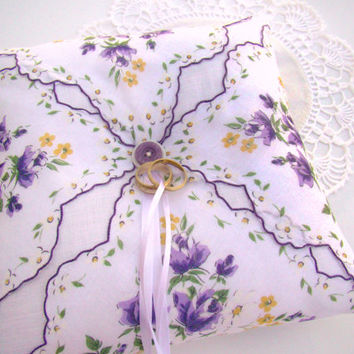 Wedding Ring Bearer Pillow, Lavender and White Vintage Styled, Floral Vintage Handkerchief, Garden Themed