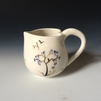 White Heart Cup with Trees and Birds, Porcelain Heart Shaped Cup for Love
