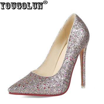 YOUGOLUN Women Bling High Heels New Spring Autumn Thin Heel 12.5 cm Pumps Lady Pointed toe White Black Party Sexy Shoes #A-020