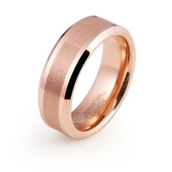 Rose Gold Wedding Band Mens Rose Gold Ring 8mm Brushed Tungsten Carbide Male Engagement Ring Man Anniversary Promise 18k High Polished