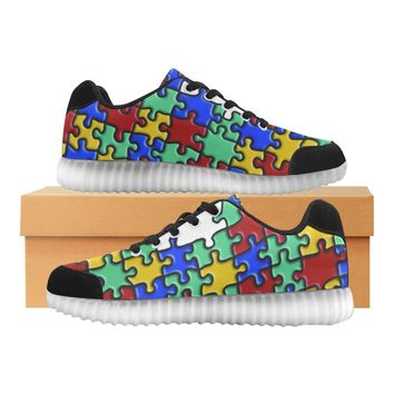 Autism Design 4 Light Up Casual Men's Shoes