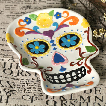 Free shipping skull hand painting plate ceramic dish fruit plate salad plate wall decoraton home deco Halloween deco gift