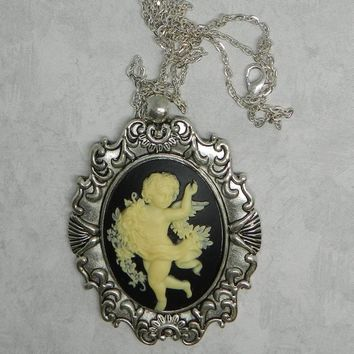 Angel Cameo Necklace Victorian Vintage Cherub  Cameo  Antique Silver Pendant 30 x 40 mm