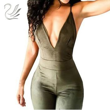 Women's Spaghetti Strap Back Openwork Skinny Jumpsuits Outfits Faux Suede Full Length Rompers Bodycon Jumpsuit Bodysuit Overalls
