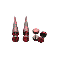 Red Metallic Splatter Faux Taper And Plug 4 Pack