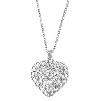 Filigree Sterling Silver Heart Necklace