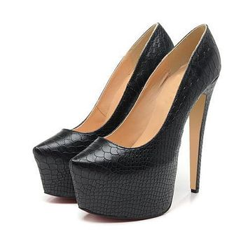 Fashion Snake Print Nightclub Super High Heels Shoes