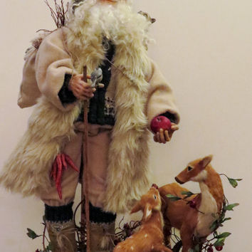 Santa Doll, ooak Woodland Santa and Animals, Handcrafted by artist Walt Carter