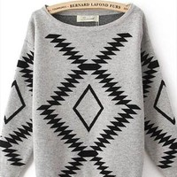 L 073002 Thick loose round neck geometry sweater -2 from cassie2013