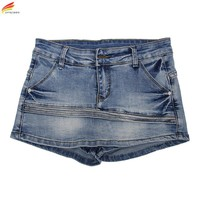 Women Skort Shorts 2017 Summer Fashion Style Sexy Ladies Shorts Skirt Plus Size Mini Skorts Female Blue Color Womens Short Jeans