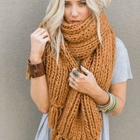 Desert Cozy Chunky Knitted Oversized Scarf - Copper