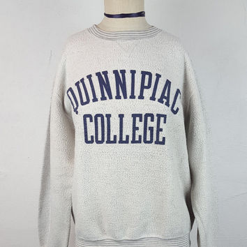 M Vintage Quinnipiac College Sweatshirt Crewneck Inside Out Striped Gray Grey Navy Blue University Pullover Sweatshirt Oversized Collegiate