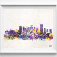 Edmonton Skyline, Alberta Poster, Canada Print, Watercolor, Bedroom, Cityscape, City Painting, Illustration, Wall Art, Home Decor [NO 419]