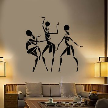 Vinyl Wall Decal African Women Natives Ethnic Style Dance Stickers (3050ig)
