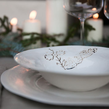 Foglia - White Porcelain Xmas Dinner Set
