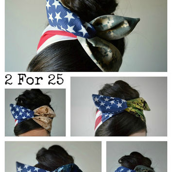 American Camo Dolly bow, Military American Flag head band, hair bow