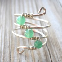 Jade Wrapped Silver Wire Twist Ring Size 6