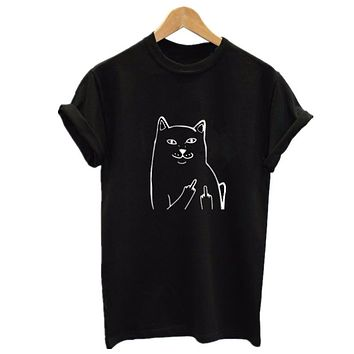 Harajuku Style Middle Finger Pocket Cat T Shirt Funny