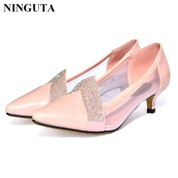 Fashion crystal wedding shoes woman pointed toe low high heel summer ladies shoes
