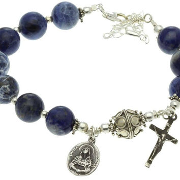 Sterling Silver 7 Sorrows Rosary Bracelet Sodalite 10mm Crucifix & Lady of Sorrows Medal, 7.3 ""