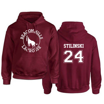 TEEN WOLF HOODIES MEN'S BEACON HILLS LACROSSE STILES STILINSKI HOODY BOY ADULTS FLEECE SWEATSHIRT MAROON S-XXXL