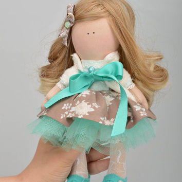 Handmade designer jersey fabric soft doll in beige and turquoise dress