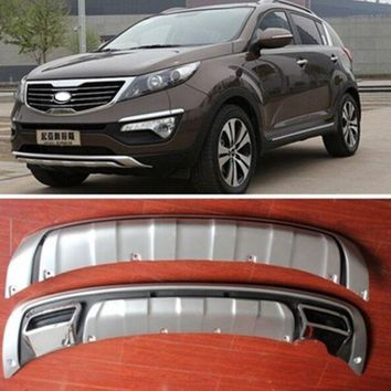Free shipping For 2011 2012 2013 Sportager High quality plastic ABS Chrome Front+Rear bumper cover trim