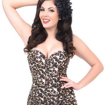Unique Vintage Leopard Ruched Mansfield Halter One Piece Swimsuit