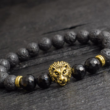 Black lava stone beaded gold Lion stretchy bracelet with faceted beads custom made yoga bracelet